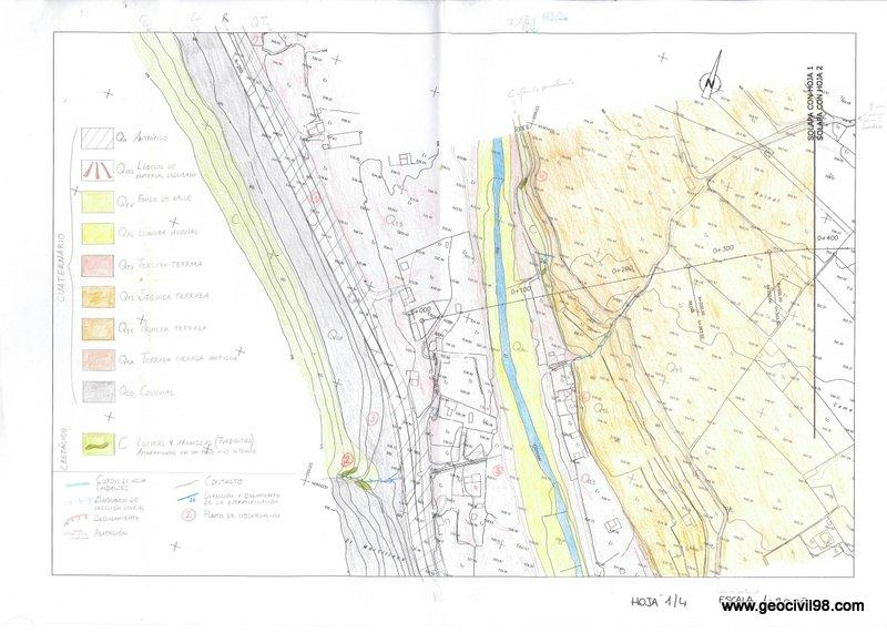 Mapa geológico de campo con leyenda