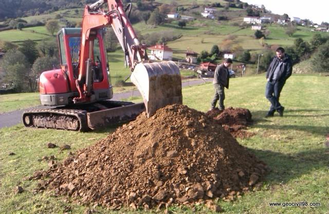 Estudios geotécnicos, minipala excavadora