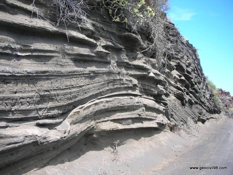 Capas de piroclastos, La Palma, geología, geotecnia, estudios geotécnicos, departamento de geologíade Geocivil 98