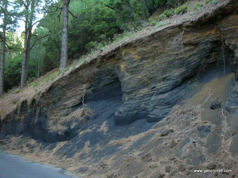 Capas de piroclastos, departamento de geología de Geocivil 98