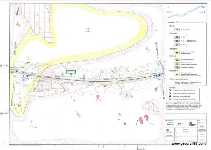 Plano geológico, cartografía geológica en Portugal