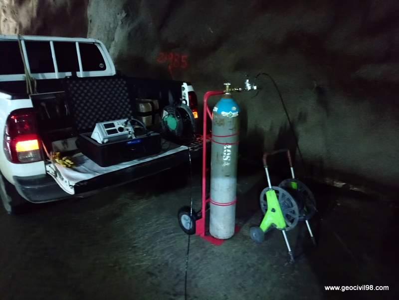 Equipo presiométrico en el túnel de Changuinola