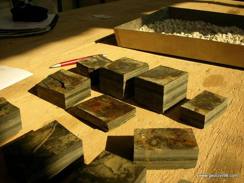 Probetas de pizarra, ensayos de laboratorio, estudios geotécnicos en Asturias